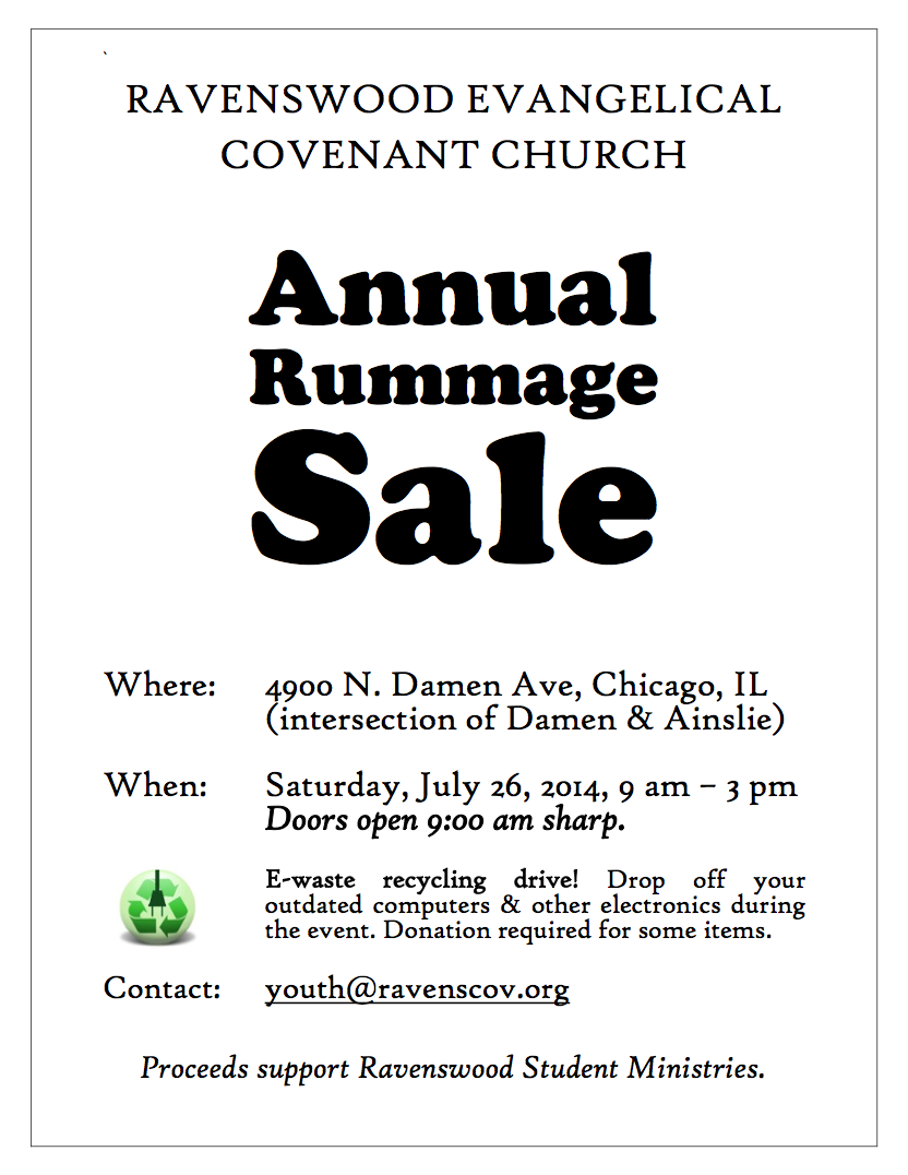 Rummage Sale, July 26 | Ravenswood Evangelical Covenant Church