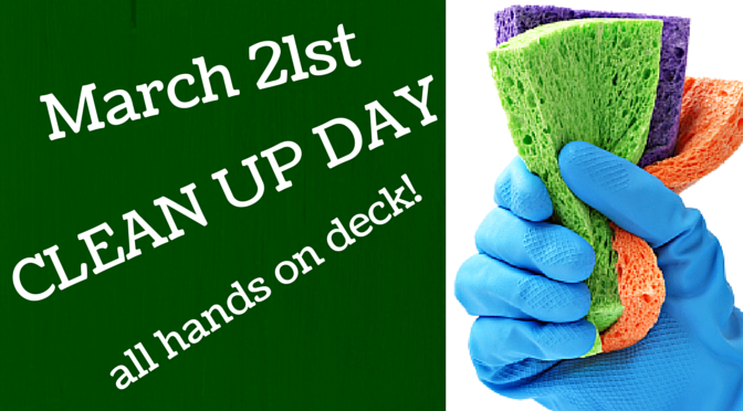 8am is our annual spring cleaning day we ll be doing a deep clean